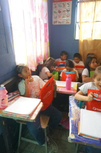 Pre-school class gets gift bags.